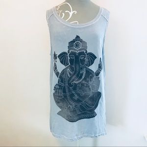 LUCKY BRAND Extra Long Tank featuring Ganesh